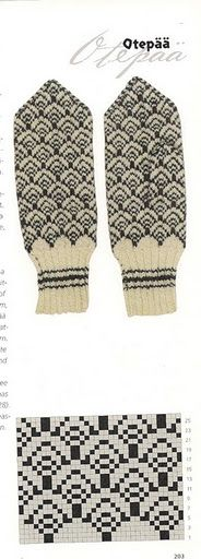 Otepää, Estonia - white and black intarsia knitted mitts