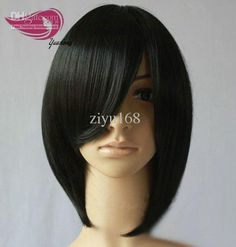 lace front wigs for black women natural look | ... Black 2013 Wig Fashion Short Synthetic Lace Front Wig Black with Bang