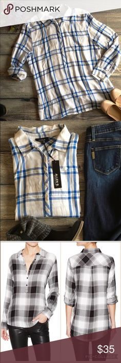NWT Allen Schwartz popover plaid shirt XL Meet Carolyn. She's the softest of flannels, the perfect treat for a weekend. Her hi-low hem is perfect over jeans or leggings and her roll tab sleeves give you plenty of styling options. She is a pullover blouse with a partial front button closure, spread collar and an all over print of blue and white flannel. She's 100% viscose and super soft. She's hand washable. New With Tags, Size XL. (I4) Offers warmly welcomed. Allen B. By Allen Schwartz Tops