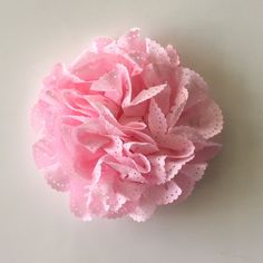 """ONE 3""""  Large Pink Eyelet Fabric Flower-Applique-hairbow supplies-diy wedding-crafts-scrapbook-headband supplies-wholesale Flowers-Bulk by BBBSupply on Etsy"""