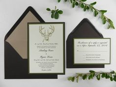 Gold Embossed Buck Wedding Invitation by WhiteGownInvitations, $4.00 #deer #outdoors #camo