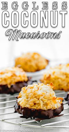 These Eggless Coconut Macaroons are beautifully toasted on the outside and sweet and chewy in the center. Made with 4 ingredients and ready in just 30 minutes. Simple and delicious! #recipe #cookies #coconut #macaroons #easy #fromscratch #quick #dessert #homemade #eggless #eggfree #eggallergy #egglessbaking #allergymom #foodallergy #allergyfriendly #foodallergylife #MommysHomeCooking #FoodPhotography #foodphotographer Quick Dessert, Best Dessert Recipes, Candy Recipes, Brownie Recipes, Vegan Recipes Easy, Chocolate Recipes, Easy Desserts, Baking Recipes, Sweet Recipes