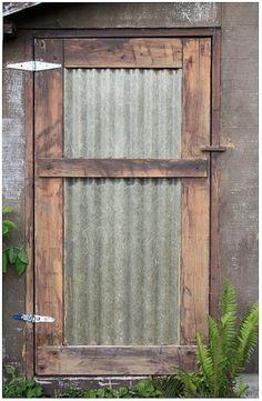 corrugated metal door we could make this into barn doors Shed Doors, Patio Doors, Entry Doors, Closet Doors, Patio Windows, House Doors, House Wall, Entrance, Metal Building Homes
