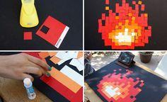 "Geek Chic:  DIY Pixelated ""Zelda"" Fireplace — Our Nerd Home"