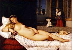 Titian–Tiziano Vecelli or Tiziano Vecellio (Italian c. 1488/1490–1576) Venere di Urbino (Venus of Urbino), 1538. Galleria degli Uffizi, Florence.