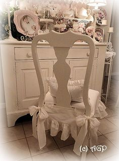 Shabby Cottage Chic Chair Skirt Makeover Reveal Country