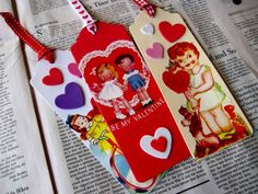 Valentine bookmarks or gift tags from recycled valentines