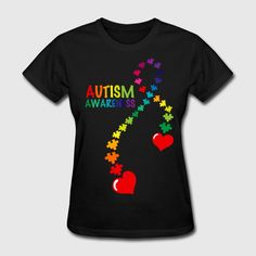 Special design for autism awareness with a  autism ribbon made with puzzle pieces in rainbow colors and red hearts. Rainbow colored text says AUTISM AWARENESS. PinkInkArt original!