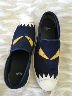 e8019283cfbdb Fendi Monster navy blue slip-on sneakers size 40