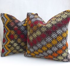 Pair of Bohemian Kilim Throw Pillows with Embroideries
