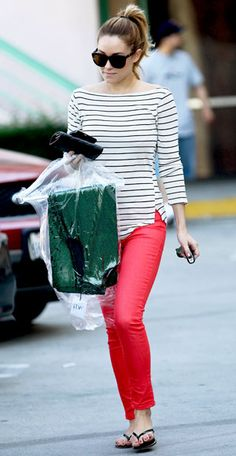Lauren Conrad in Joe's Jeans and nautical striped top | Perfect for running errands or hanging out!