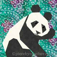 Panda paper pieced ... by PieceByNumber | Quilting Pattern - Looking for your next project? You're going to love Panda paper pieced quilt block by designer PieceByNumber. - via @Craftsy