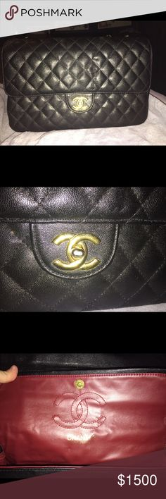 Chanel jumbo flap handbag Only uncle twice. Amazing condition. Black leather with gold hardware. CHANEL Bags Shoulder Bags