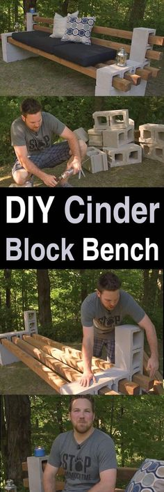DIY Cinder Block Bench - Homestead Survival Site This video is a great example of how many DIY projects are so easy anyone can do it. For this project, all you need are some cinder blocks and Outdoor Projects, Garden Projects, Home Projects, Diy Projects Cement, Design Projects, Diy Projects Bathroom, Diy Projects For Bedroom, Project Projects, Easy Diy Projects