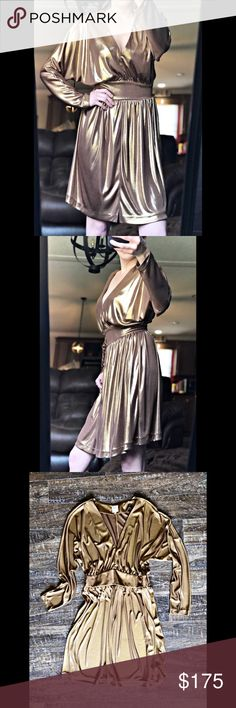 Halston Heritage Metallic Gold Dress Sz 6 Halston Heritage Metallic Gold Dress Sz 6. In great condition.   Material: Polyester Measurements Laid Flat (inches):- Shoulder to Shoulder: 15 Bust: 22 Waist: 15 Hips: 27 Shoulder to Hem: 34 Halston Heritage Dresses Mini