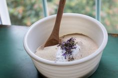 Bowl filled with lavender biscotti ingredients