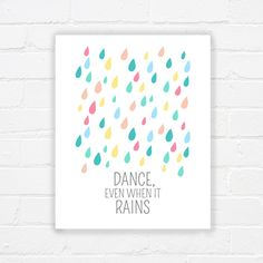 Printable art - raindrops print - girls room printable - nursery printable - pastel - printable wisdom - inspiring quote - INSTANT DOWNLOAD on Etsy, $5.00
