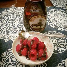Simple dessert of raspberries and chocolate sauce #raspberry #chocolate #chocolatesauce #fabri