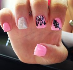 Pink acrylic nails with dreamcatcher and feather