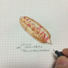 Instagram photo by ha_ss - 150315 #hassdiary #2015 #ほぼ日手帳 #hobonichi #イラスト #illust #drawing #ホットドッグ #IKEA #完食 #美味しかったよ