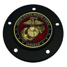 Dark Horse Roadmaster MotorDog69 Indian Black Gas Cap Coin Mount Set with Coast Guard Veteran for Chieftain Chief Vintage Chief Classic Scout/…