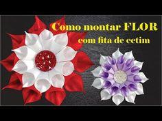 Como montar flor de cetim, passo a passo kanzashi, tutorial kanzashi, kanzashi flower - YouTube