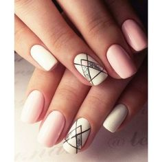 20 Shockingly Simple Geometric Nail Art Ideas You'll Love ❤ liked on Polyvore featuring beauty products, nail care, nail treatments and nails