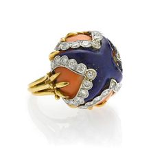 A lapis lazuli, coral and diamond dome ring
