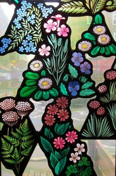 Stained glass window in Angel in the Fields (pub), Thayer St, London Modern Stained Glass, Stained Glass Paint, Stained Glass Flowers, Stained Glass Panels, Leaded Glass, Mosaic Glass, Glass Art, Window Glass, Fused Glass