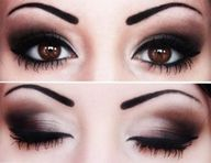 can do this like a pro :)  start with your base color all over your eye lid and then add your darker shade on the corner of the eye until you get it how dark you want. USE GEL EYELINER!. so easy to use and wont smudge..