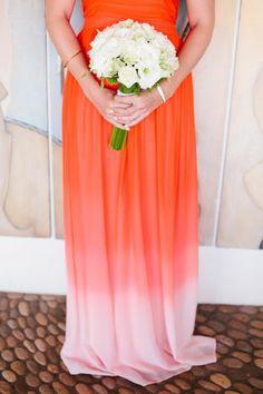 Shades of orange and coral bridesmaid dress