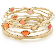Kendra Scott Jewelry Set Of 5 Bella Fig Bangle Bracelets ($75) ❤ liked on Polyvore featuring jewelry, bracelets, orange, hinged bangle, kendra scott jewelry, imitation jewellery, 14k bangle bracelet and imitation jewelry