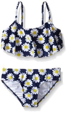 Kensie Little Girls Daisy Bandeau Bikini Swimsuit, Blue, 4