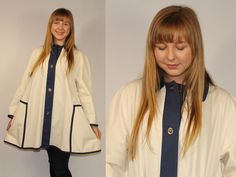 60s Vtg Dress SWING Cape Poncho Draped Trench Tent Rain Coat Jacket Oversized Outerwear Sailing Boating Navy Ivory White Mad Men Wedding by keepdrawer on Etsy https://www.etsy.com/listing/222932500/60s-vtg-dress-swing-cape-poncho-draped