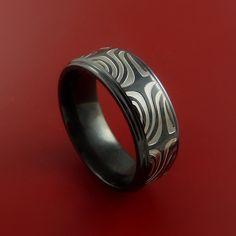 Black Zirconium Ring Textured Mokume Carved Pattern Band Made to Any Sizing 3-22