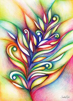 Abstract Art ♥ Sandra Rede - Colored pencils on paper / Drawing by. Abstract Pencil Drawings, Colored Pencil Artwork, Oil Pastel Drawings, Pencil Painting, Art Drawings Sketches Simple, Pencil Art Drawings, Colorful Drawings, Abstract Art, Drawings With Colored Pencils