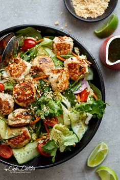 A Thai Chicken Meatball Salad full of Thai-inspired flavours, healthy, filling and low in fat, perfect for lunch or dinner. Shrimp Salad Recipes, Spinach Salad Recipes, Asparagus Recipe, Healthy Salad Recipes, Chicken Recipes, Asparagus Pasta, Delicious Recipes, Healthy Snacks, Healthy Eating