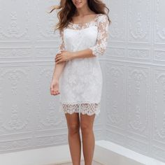 Two Piece Ivory Lace Long Sleeves Short Wedding Dress Bridal Gowns, Wedding Gowns, Marie Laporte, Girls Dresses, Flower Girl Dresses, Half Sleeve Dresses, Half Sleeves, Civil Wedding, Boho Wedding Dress