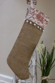 Image detail for -French Country Burlap and Toile Christmas by myadobecottage