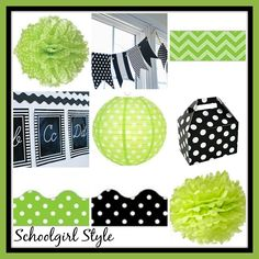 lime green black classroom theme decor by Schoolgirl Style