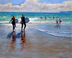photo+surfer | Surfers, Polzeath - Cornwall Paintings - Geoffrey Smith