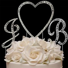 Crystal Heart and Initials Wedding Cake Topper--Affordable Elegance Bridal -