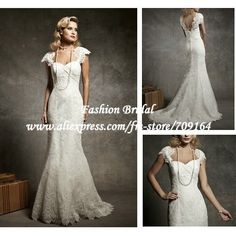 vintage lace wedding dresses cap sleeves - Google Search