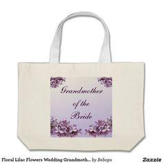 Floral Lilac Flowers Wedding Grandmother of Bride Jumbo Tote Bag