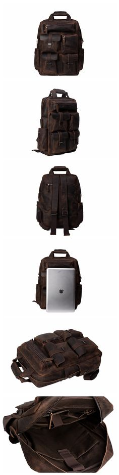 ROCKCOW Cool Cowhide Leather Multiple Laptop Backpack Day Pack Travel Bag Stachel
