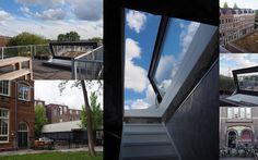 Voorbeeld van hoe een Skydoor licht brengt en buiten naar binnen haalt in een voormalige Openbare Lagere School in Amsterdam. Het dak van het huis biedt nu een hele extra leefruimte met uitzicht over Amsterdam.