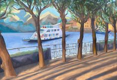 Bellagio promenade by Diana Dzene; 70cm x 100cm, oil on canvas, done in April 2021 (but porteaying a view from January 2021). #art #bellagio #italy #lombardy #lakecomo #italyart #arte #pittura #peinture #saatchiart #artgallery #bellagioitaly #bellagioart #dianadzene #summerart #art2021 #ferry #promenade #lagodicomo Oil On Canvas, Canvas Art, Original Paintings, Original Art, Italy Art, Lake Como, Summer Art, Buy Art, Saatchi Art