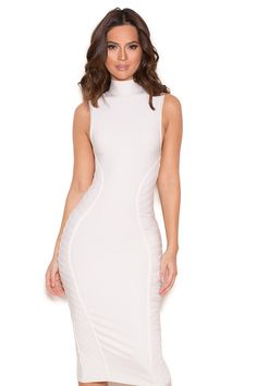 6e0da937ebb96 Made exclusively from our curve creating heavyweight bandage fabric,  'Cordella' is perfection in white. Featuring a turtle neck cut with a super  flattering ...
