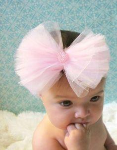 Pink Ballerina Tutu Bow Headband.