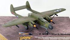 Hersteller: HobbyBoss| Sparte: Historische Flugzeuge | Katalog Nummer: 87261 - US P-61A Black Widow Maßstab: 1:72 | Einzelteile: 91 | Länge: 210mm | Spannweite: 279mm Black Widow, Scale Models, Airplane, Fighter Jets, Creative, World War Two, Catalog, Plane, Aircraft